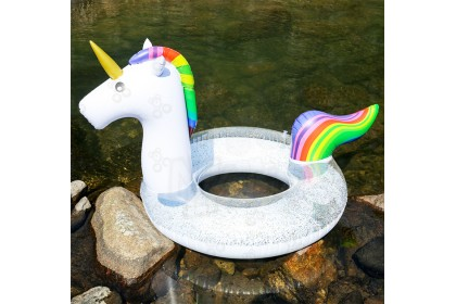 [Ready Stock] Sequined Unicorn Swimming Ring - Swimming Pool Ring for Children Play at Swimming Pool or Beach