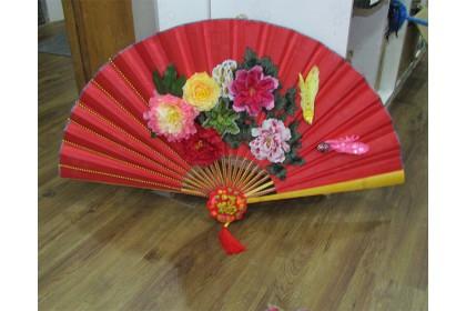 [Pre-Order] 63cm CNY Red Hand Fan Decoration 新春佳節特別設計款紅扇擺設 (Custom Made)