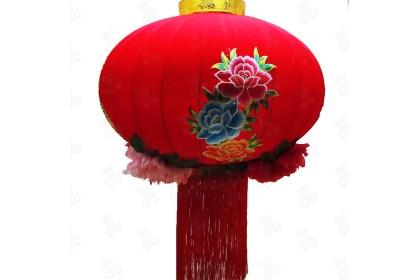 [Pre-Order] Lantern 21-6 - 80cm CNY Big Blessing Peony Embroidery Red Flock Lantern Hanging 大福字牡丹百花紅燈籠 1pcs