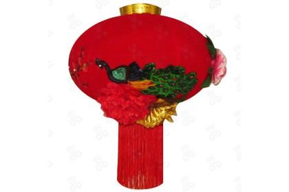[Pre-Order] Lantern 21-10 - 80cm CNY Sequin Peacock Embroidery Red Flock Lantern Hanging 孔雀象徵鳳凰亮片紅燈籠特別設計款 (Custom Made) 1pcs