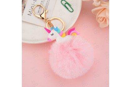 [Ready Stock] Cute unicorn keychain/unicorn fur ball alloy keychain 可爱独角兽钥匙扣 / 独角兽毛毛球合金钥匙扣 [1pcs]