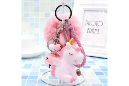 [Ready Stock] Vinyl BB Squishing Sound Unicorn with Fur ball Keychain Bag Pendant 搪胶BB叫独角兽钥毛球匙扣包包挂件 [1pcs]