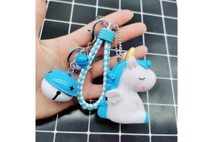 [Ready Stock] Vinyl BB Squishing Sound Unicorn Bell Keychain Bag Pendant 搪胶BB叫独角兽钥铃铛匙扣包包挂件 [1pcs]