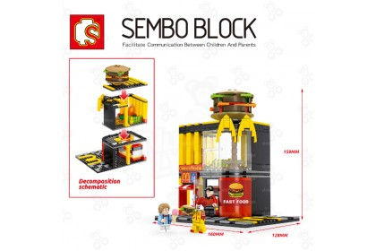 [Ready Stock] Sembo Building Block Fast Food and Covenient Shop Street Series 1set only