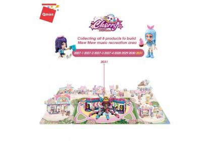 Qman 2031 Super Star's Super Shining Stage Cherry Mew Mew Music Festival Series Bricks Building Blocks 984pcs